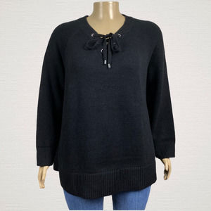 Avenue Lace Up Sweater Raglan Ribbed Knit Plus